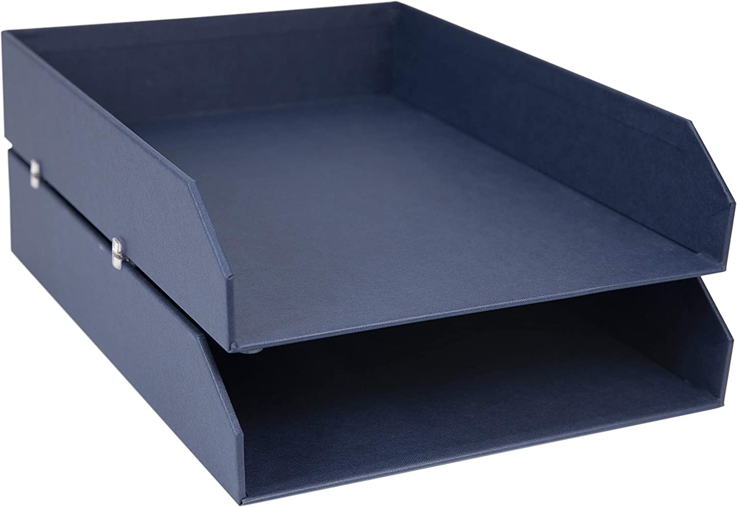 Bigso Hakan Fiberboard Two Tier Stackable Letter/Document Tray, 2.5 x 9 x 12.2 in, Blue