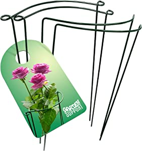 Garden Support Strong & Sturdy Plant Support Cages - 4pcs Metal Rings for Peony Rose & Hydrangea | Green 11.8'' x 15.7'' Interconnectable Wire Half Hoops | Perfect for Indoor potted or Garden Flowers