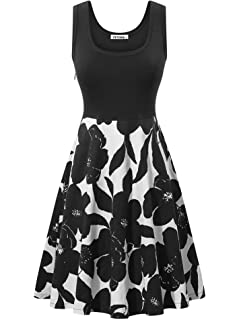 35e5be504ab VETIOR Women s Vintage Scoop Neck Midi Dress Sleeveless A-line Cocktail  Party Tank Dress