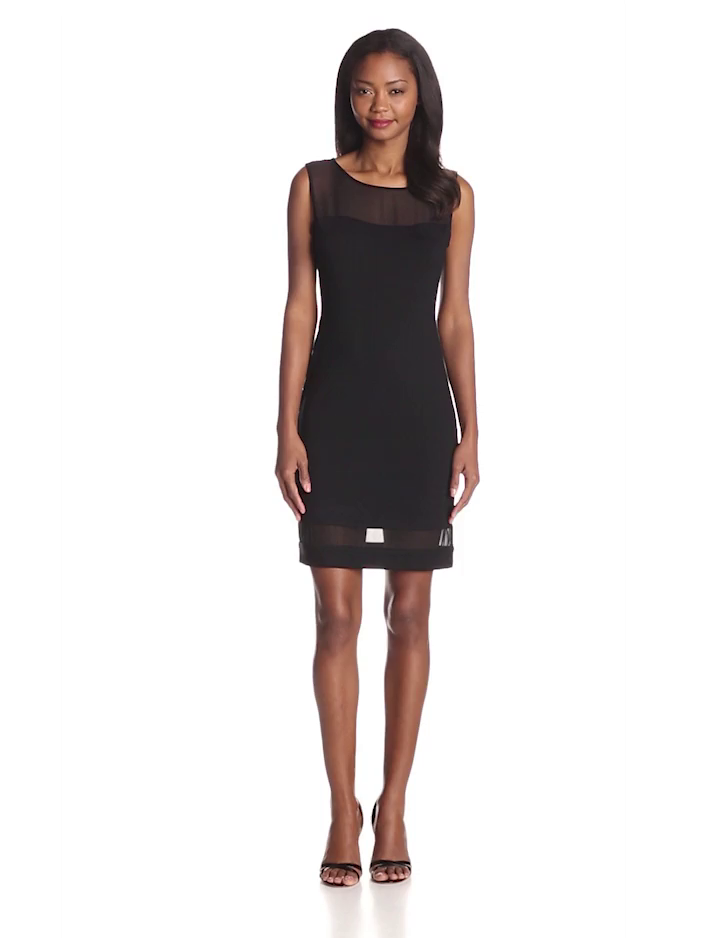 Vince Camuto Women's Sheer Inset Dress, Rich Black, X-Small