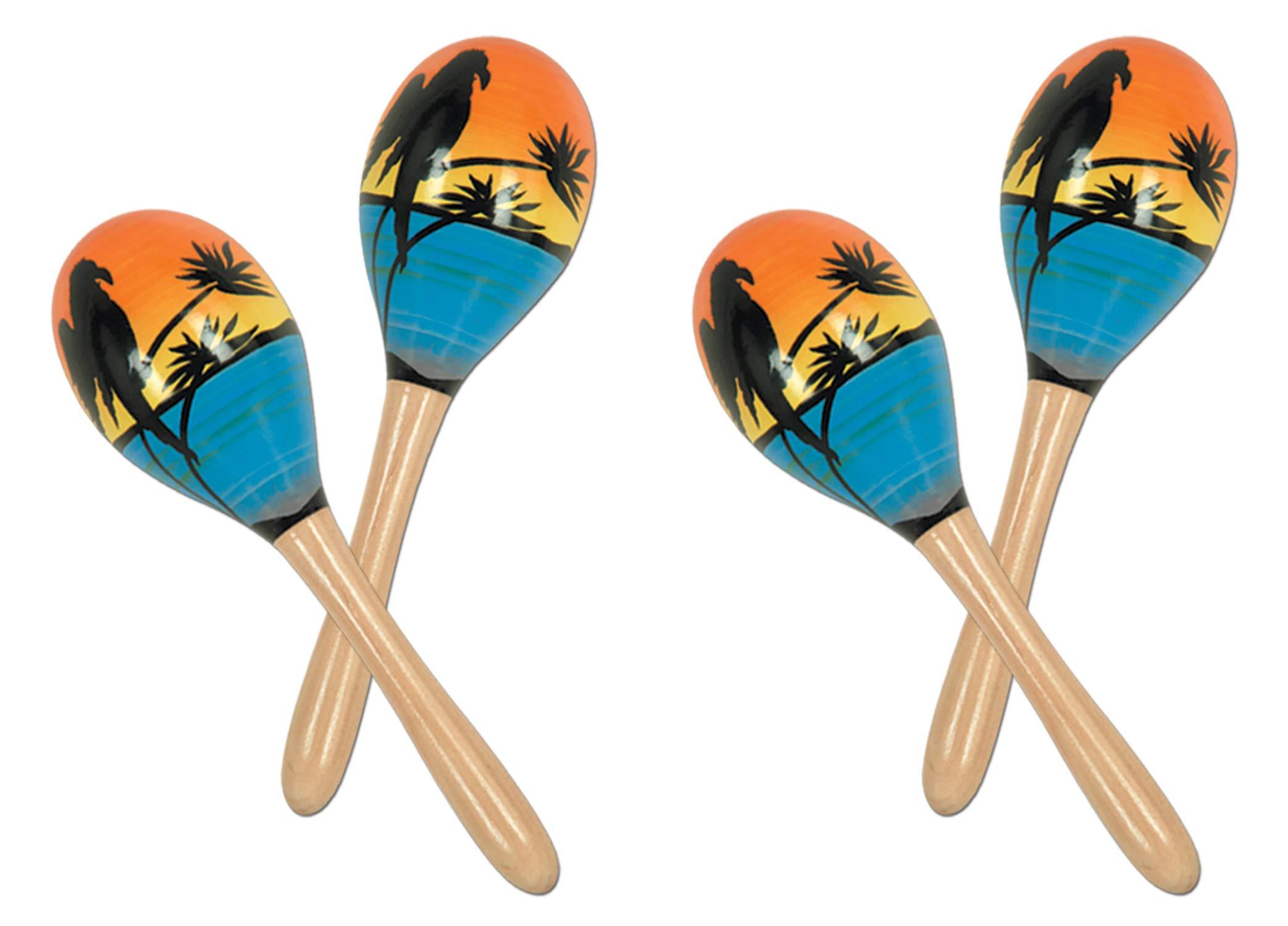 Beistle S60950-8AZ2 Tropical Fun Party Maracas 4 Piece, 8'', Multicolored