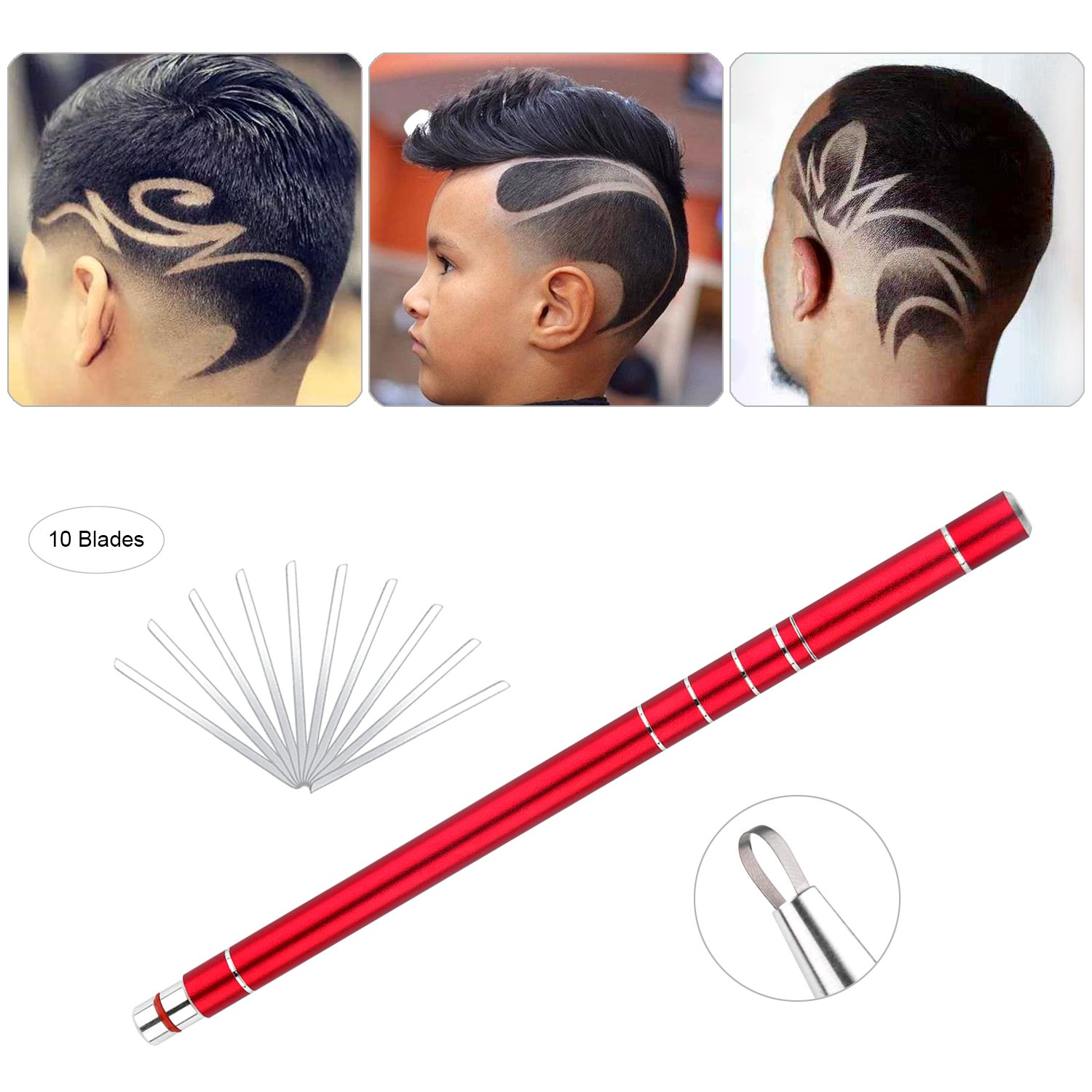 Hair Styling Stainless Steel Razor Pen with 10 Blades and 1 Tweezer Accessories Upgraded V3.0 Face Shaping Device Tools for Hair Design/Hair Tattoo Eyebrow Beard Womens,Mens and Children (Set of 12)-Red centtechi
