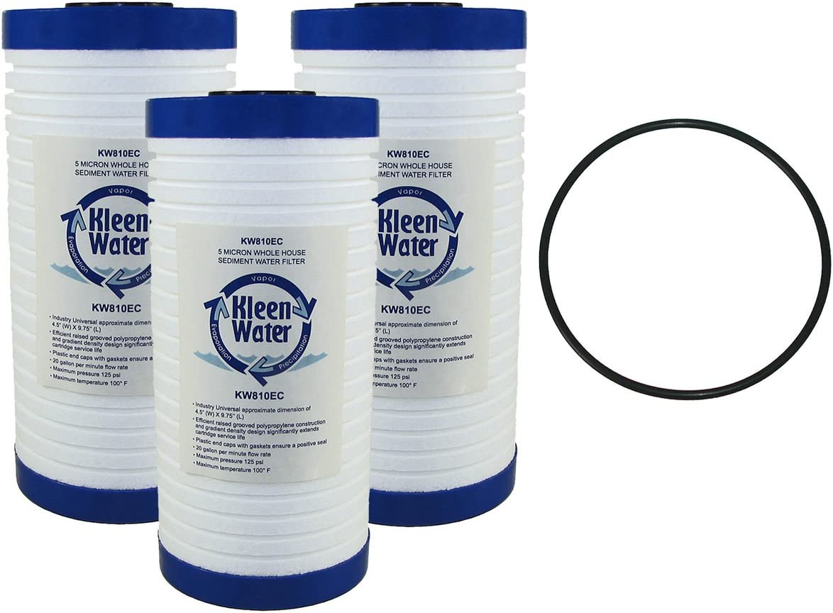 AP810, AP801, Keystone CG10 Compatible Water Filter Multi-Pack, KleenWater KW810EC Replacement Cartridge, Dirt Rust Sediment Filtration, Set of 3, Includes O-ring