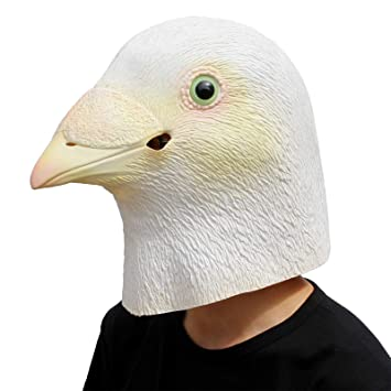 PartyCostume - White Pigeon Mask - Halloween Mascara De Latex Animal Cabeza Llena De Pájaros