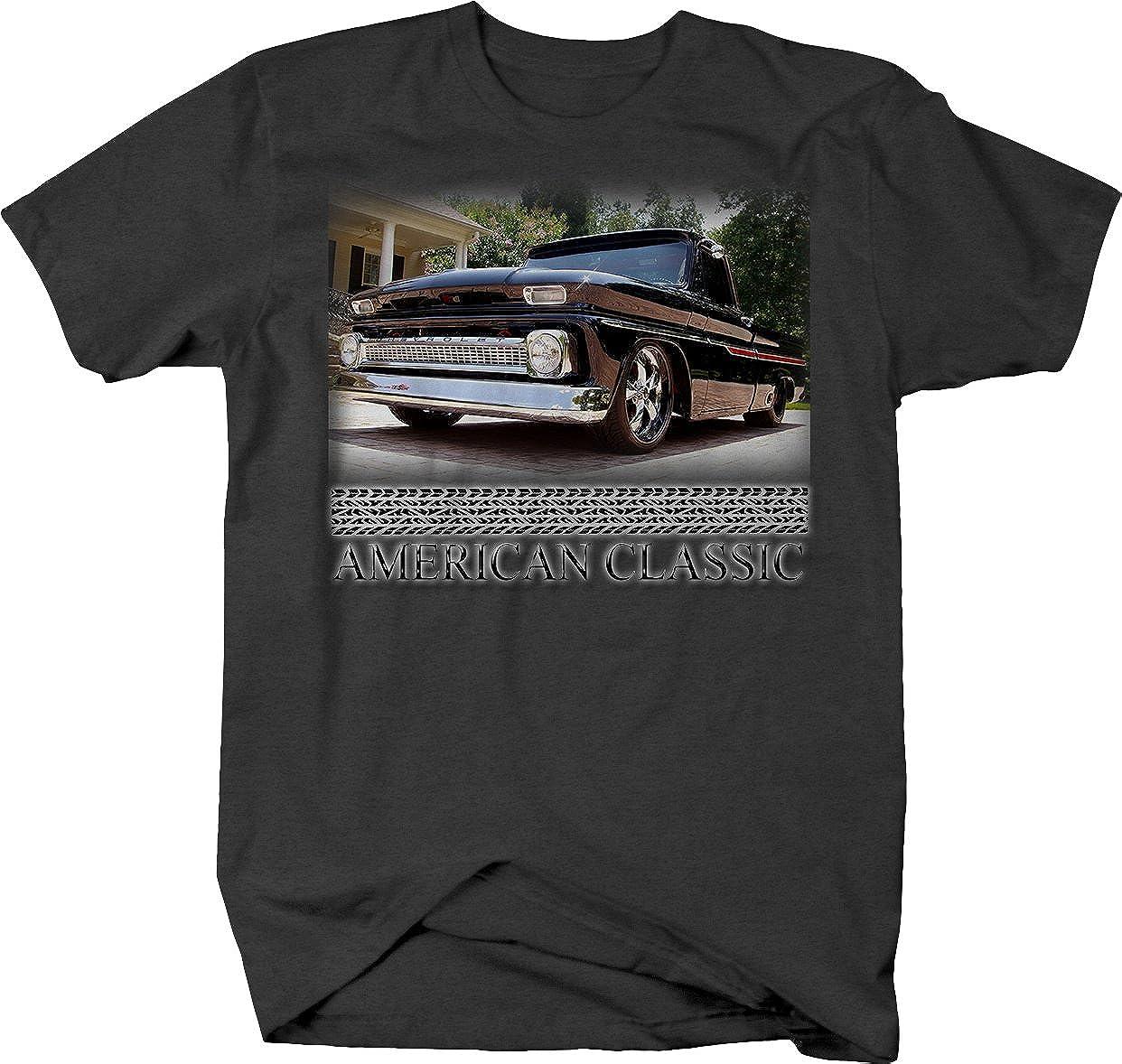 American Classic Muscle Car C10 Black /& Chrome Truck 1960-66 T Shirt for Men