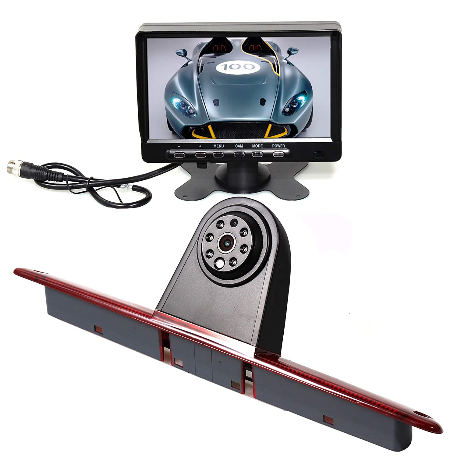 RED WOLF 3rd Brake Light Reversing Parking Backup Camera Kit with 7'' TFT LCD Monitor For 2007-2018 Mercedes Benz Sprinter/Dodge Sprinter/VW Crafter Vans