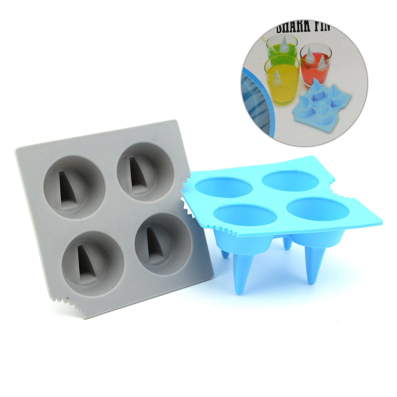 iNewcow 2PCS Shark Fin Ice Cube Tray Mold (Blue&Grey Color)