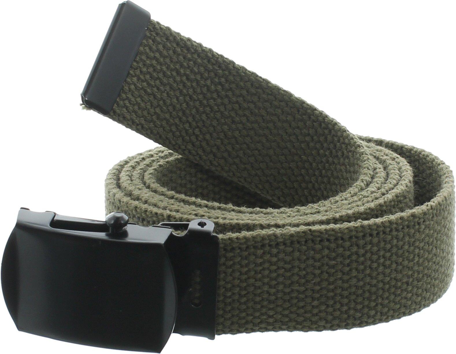 100% Cotton Military 54'' Web Belt (Olive Drab w/Black Buckle)