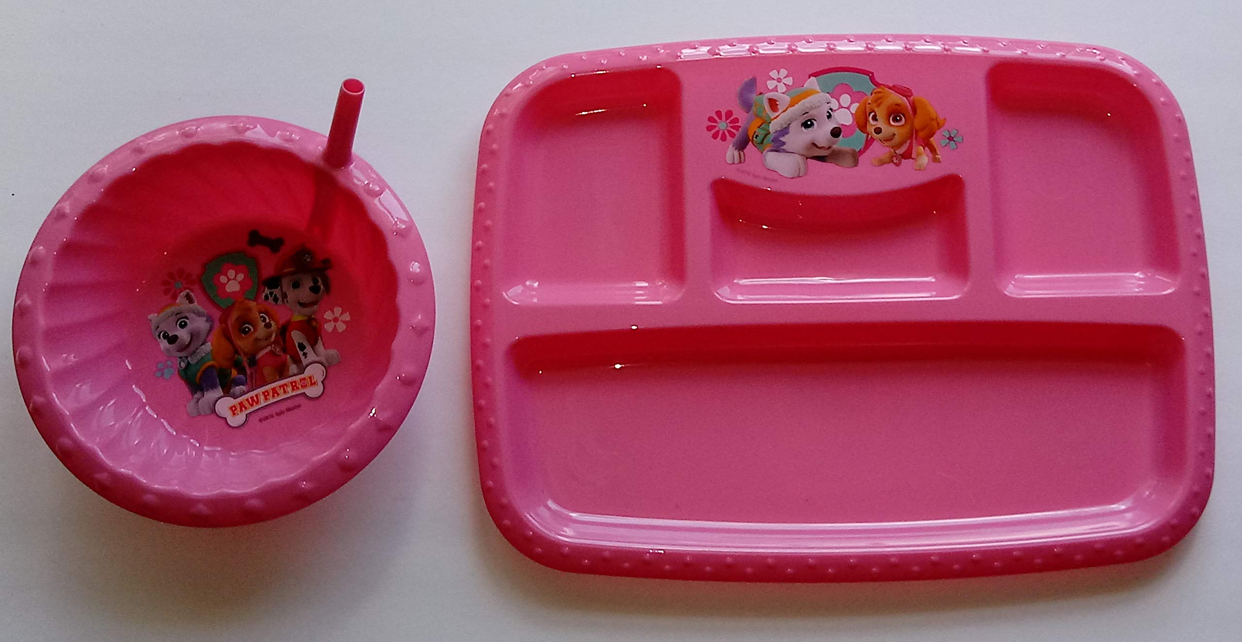 Bundle: 2 pieces: Paw Patrol Divided Meal Tray with Matching Sipper Bowl (pink)