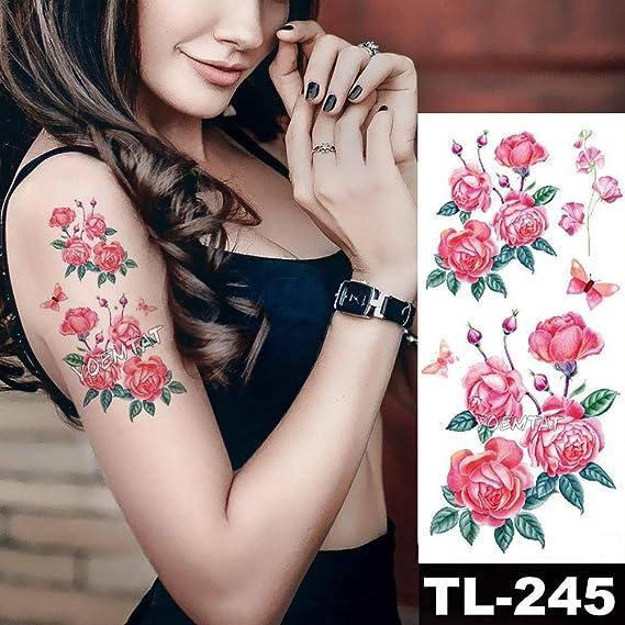 Púrpura Acuarela Rose Lily Flower Pegatinas de tatuaje a prueba de ...
