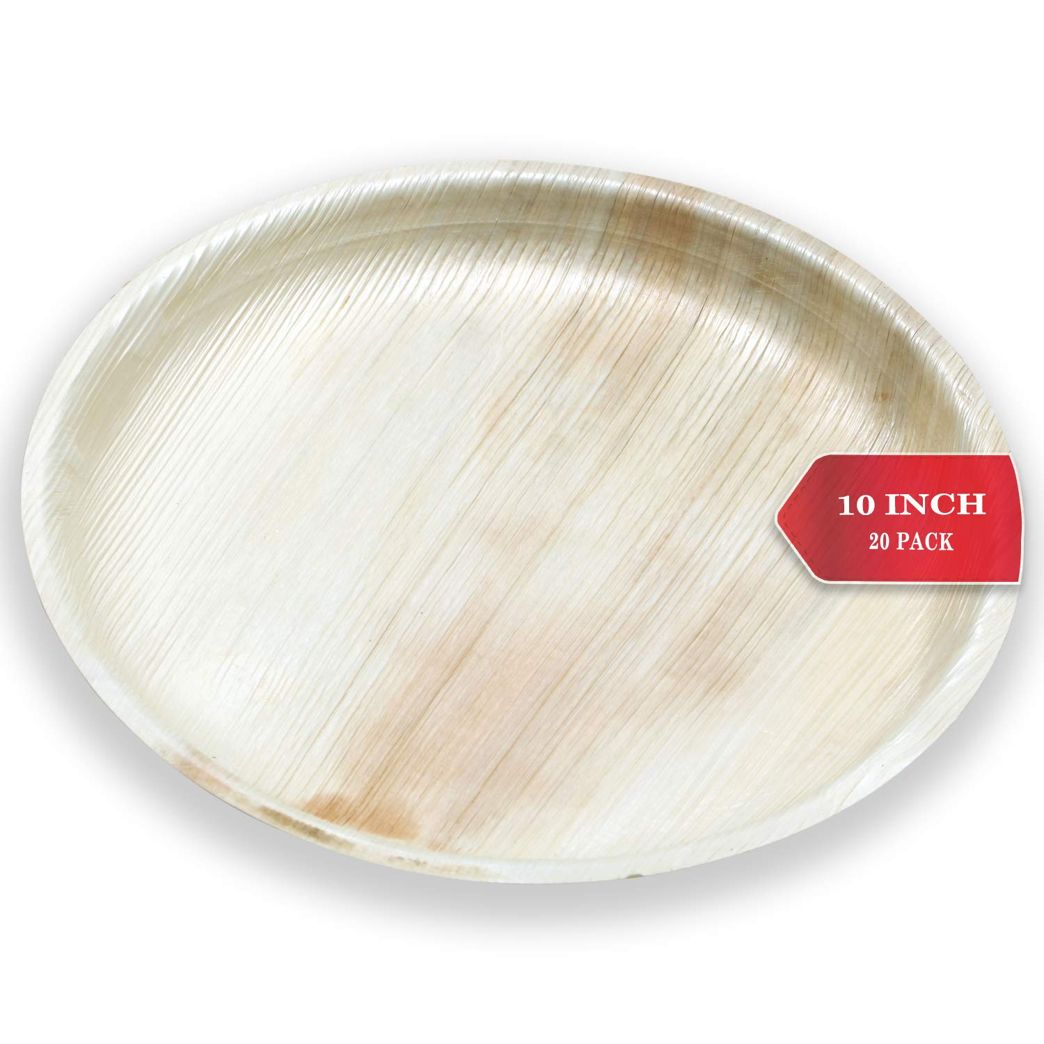 Terra Mirai Areca Palm leaf Plates - 10 Inch Round Shallow - Ecofriendly Disposable Dinnerware - Biodegradable & Premium Quality Round Plates - Ideal for Party, Wedding, BBQ, Camping & More by TERRA MIRAI