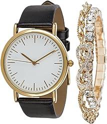 SIX Set Damen Uhr, Lederopik, Ambänder, Strass, Infinity Unendlichkeit, schwarz, Gold (388-287)