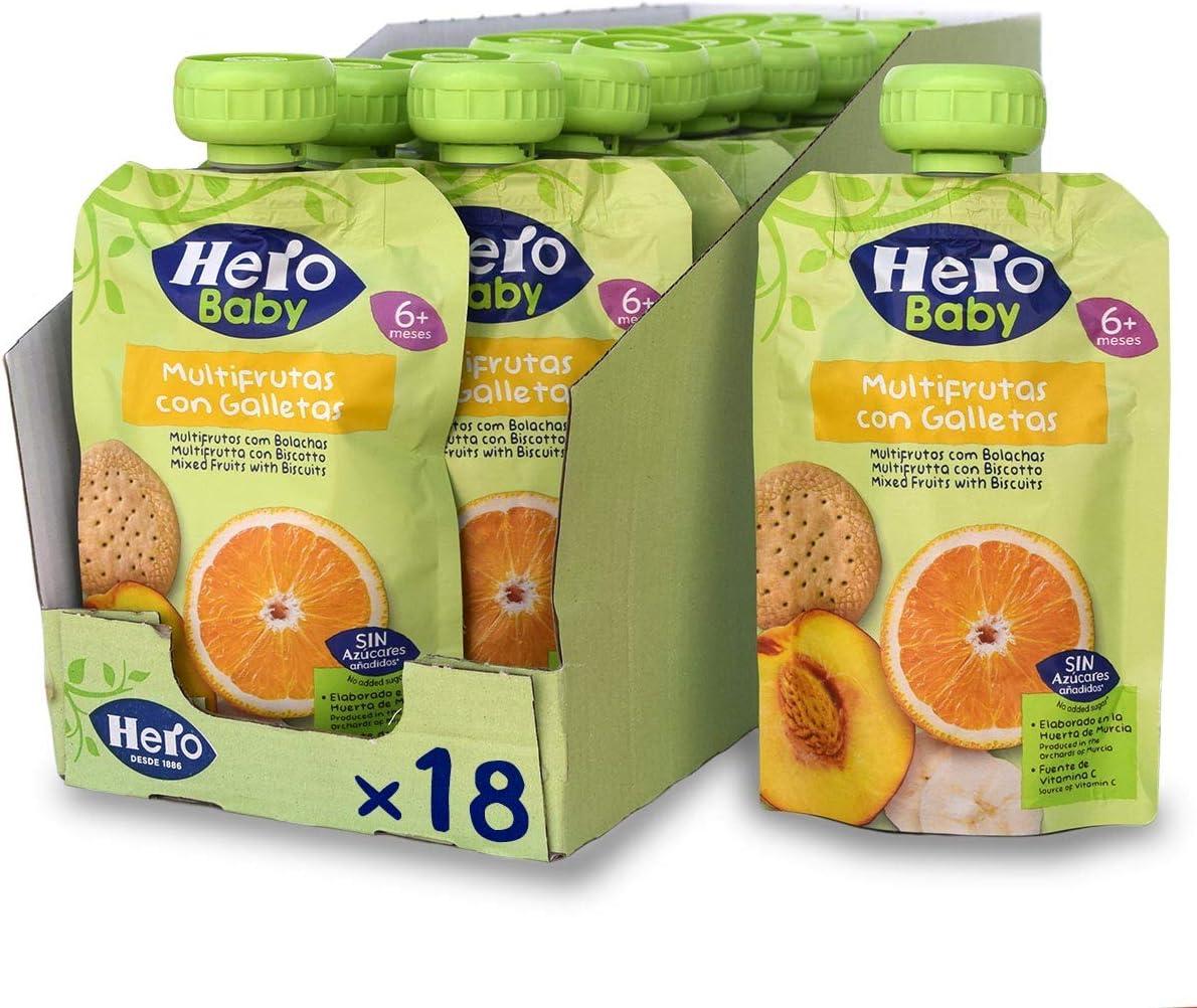 Hero Baby - Bolsita de Multifrutas con Galletas, Sin Azúcares Añadidos, para Bebés a Partir de los 6 Meses - Pack de 18 x 100 g: Amazon.es: Alimentación y bebidas