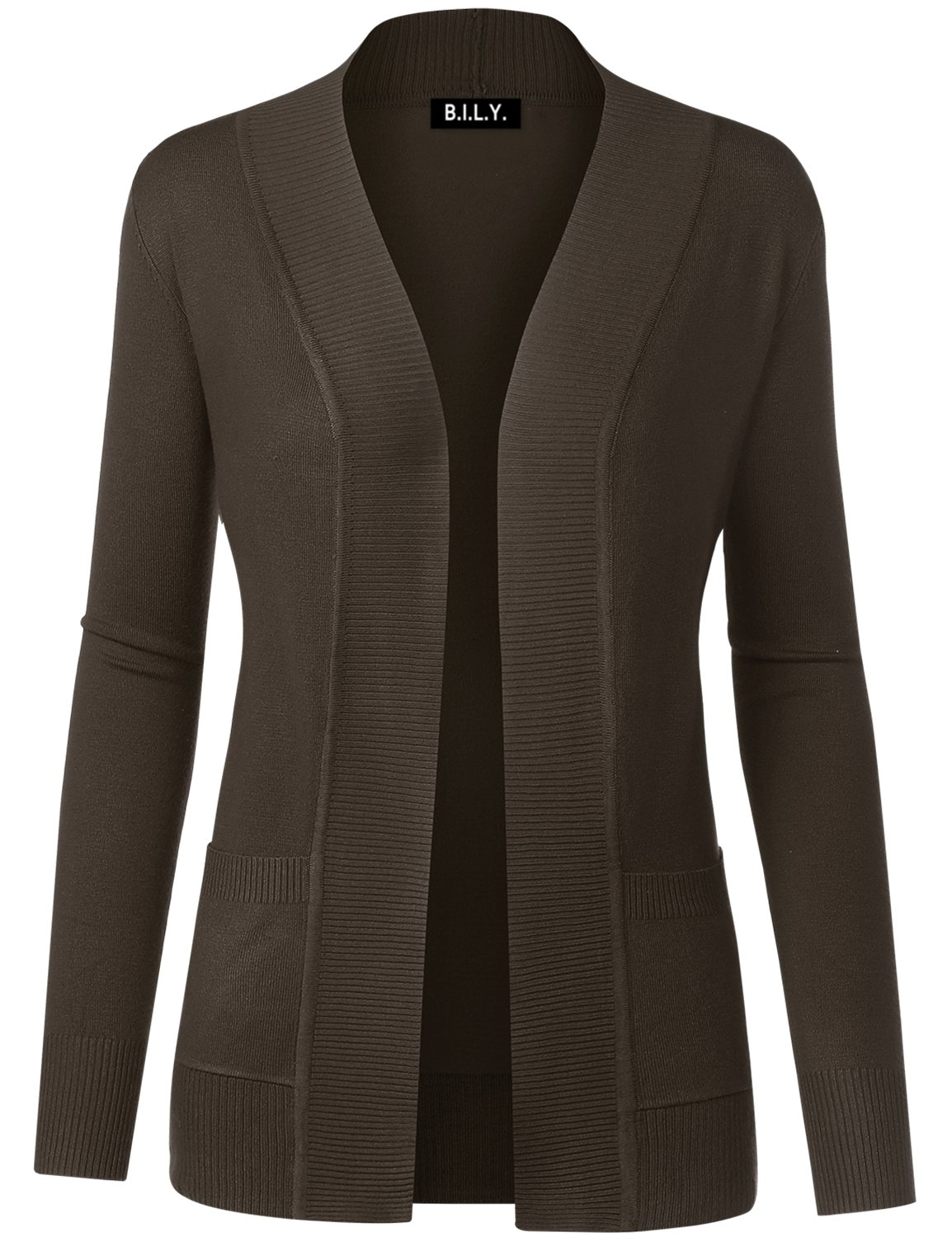 B.I.L.Y Women Open Front Long Sleeve Classic Knit Cardigan