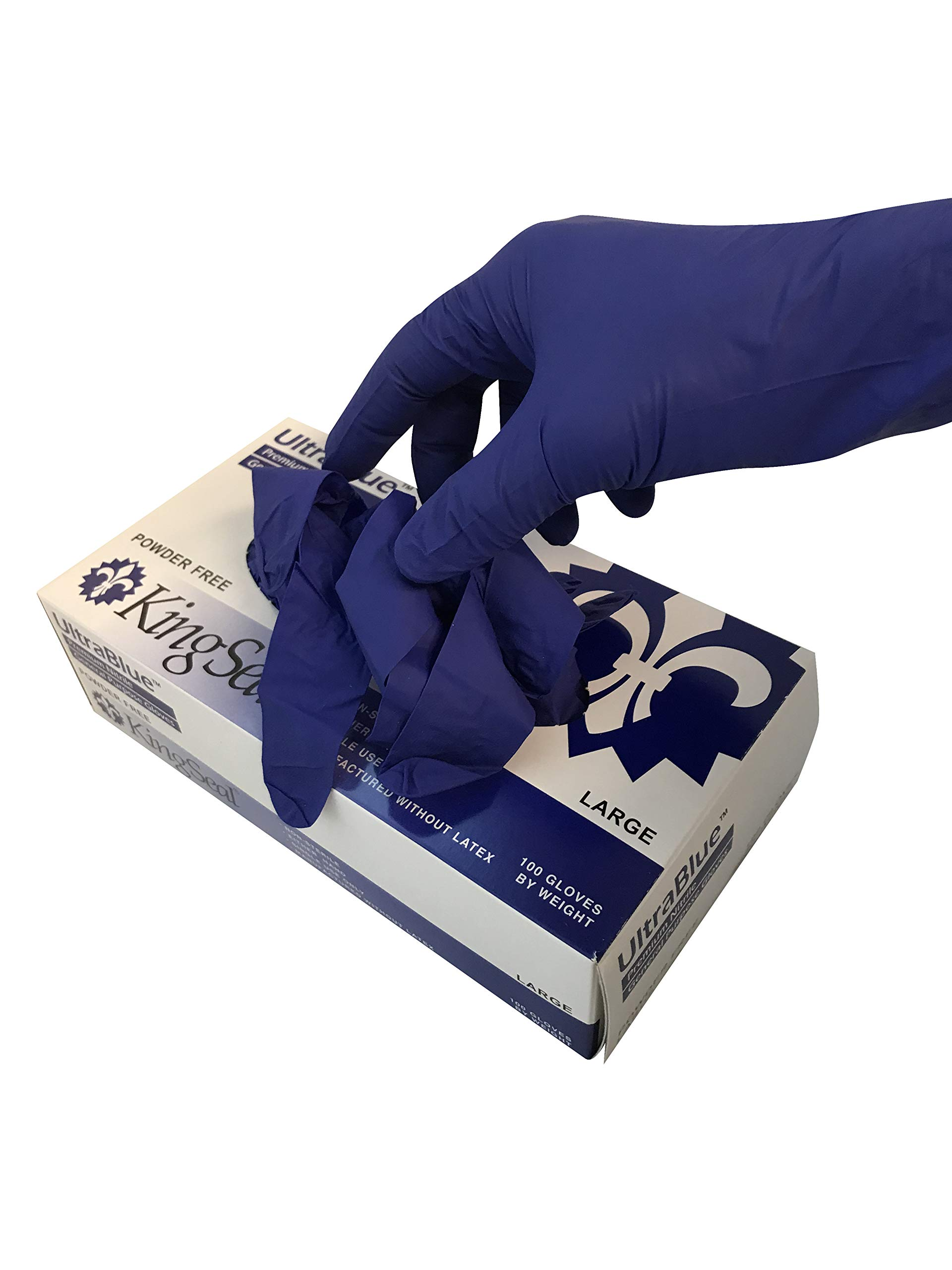 KingSeal UltraBlue Cobalt Indigo Blue Disposable Gloves, 4 mil, Latex-Free, Textured, Size Large - 4 boxes of 100 each (400pcs total)