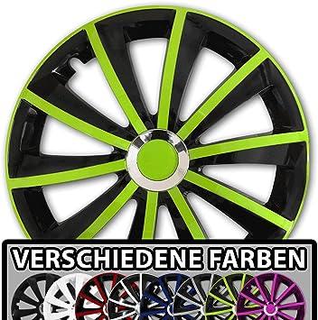 Eight Tec Handelsagentur Farbe Und Größe Wählbar 15 Zoll Radkappen Gral Bicolor Schwarz Grün Passend Für Fast Alle Fahrzeugtypen Universal Auto
