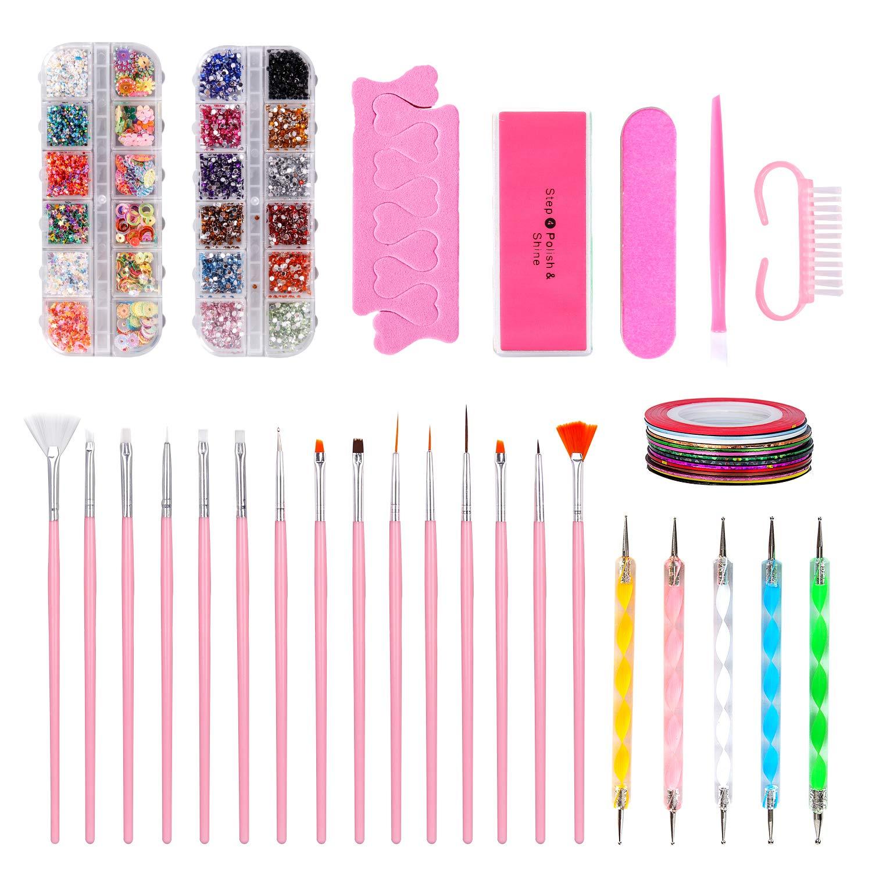 Nail Art Kit Decorations Include Painted pen,Nail Dotting Pen,Tape Line Nail Stickers,Colored Rhinestones,Sponge finger splitter, Polishing Segments,Mini nail file,Silicone embossing rod,Nail Brush by Hakkin