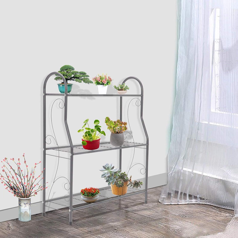 Shoze 3 Tier Metal Plant Stand Garden Planter Flower Pot Shelf Display Shelf Rack Flower Stand for Indoor Outdoor Home Patio Garden Balcony