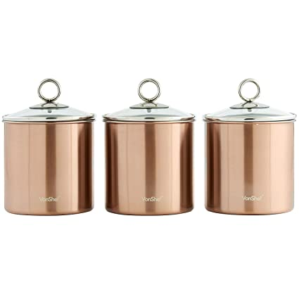ba95b400ffd1 Buy Copper : VonShef Set of 3 Copper Tea, Coffee & Sugar Canisters/ Kitchen  Storage Jars with Glass Lids - Stainless Steel Online at Low Prices in  India ...