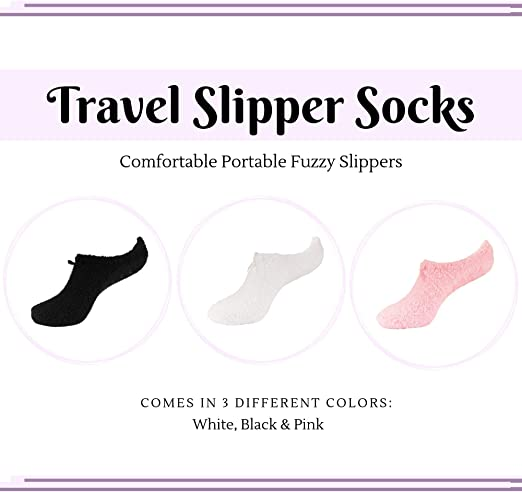 BambooMN Womens Soft Breathable Fuzzy Cozy Footies Travel Home Socks with Non-Skid Bottom