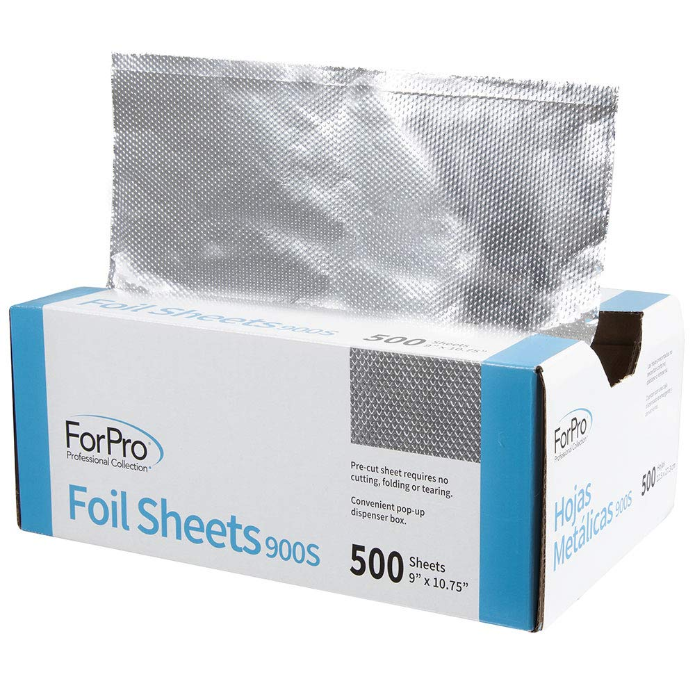 "ForPro Embossed Foil Sheets 900S, Aluminum Foil, Pop-Up Dispenser, for Hair Color Application and Highlighting, Food Safe, 9"" W x 10.75"" L, 500-Count by ForPro (Image #2)"