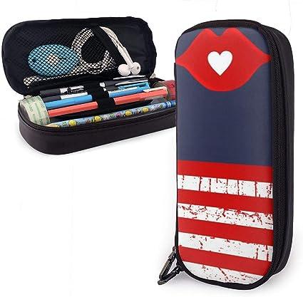 Rayas Labios Amor Corazón Elegante Estuche de lápices Estuche Bolígrafo de gran capacidad Estuche de maquillaje Bolsillos de papelería duraderos para estudiantes: Amazon.es: Oficina y papelería