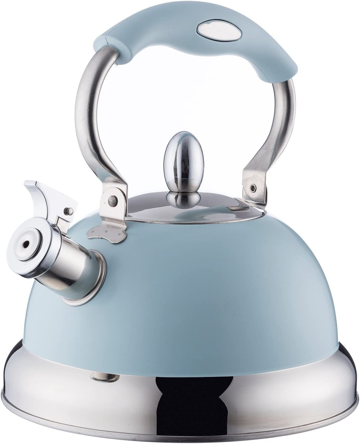 Typhoon Living Stovetop Whistling Kettle with Folding Handle, 2.5 Litre, Blue