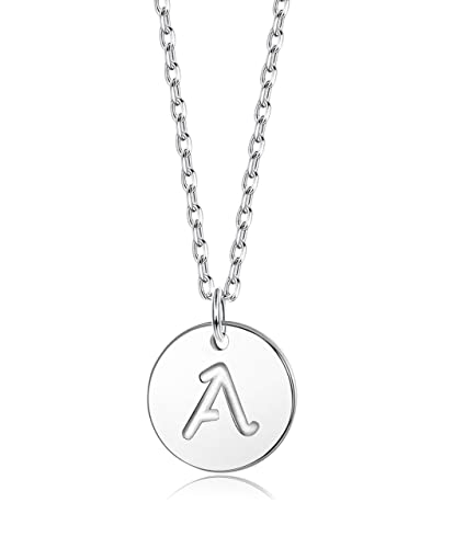 9d10437c443 Sllaiss Initial Necklace 925 Sterling Silver Round Disc Engraved Letter Pendant  Necklace Personalized Alphabet Charm Pendant Necklace for Women: ...