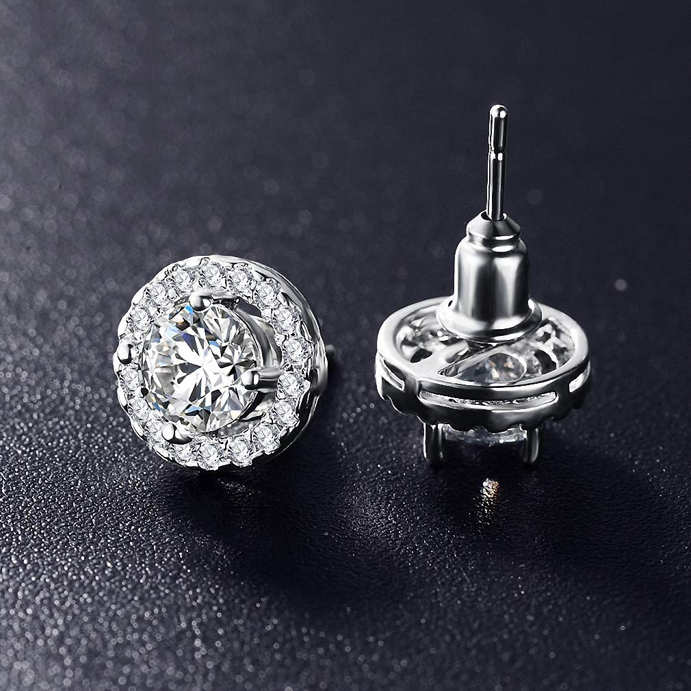 Womens Stud Earrings Romantic Jewelry Stud Earrings for Wedding Elegant Silver Color AAA Cubic Zirconia Stone Earring