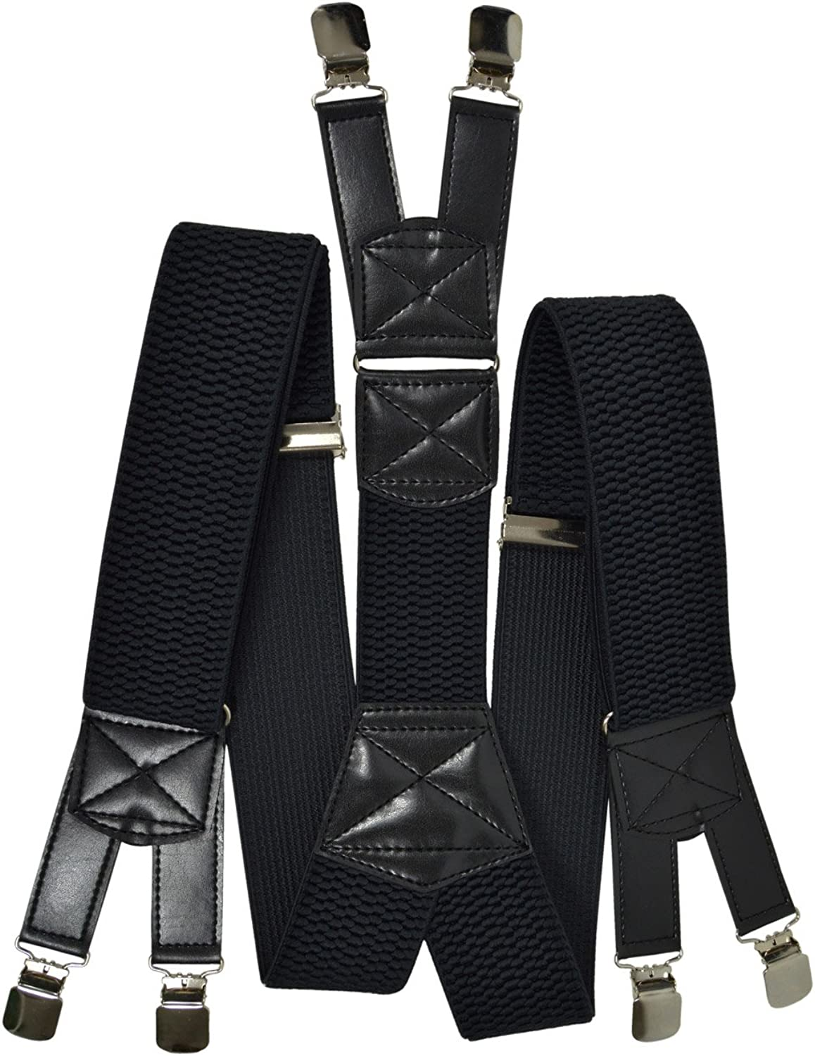 Thick Fabric Heavy Duty X-Shape Braces//Suspenders with 6 Clips Design Mens XXL Extra Wide 5cm