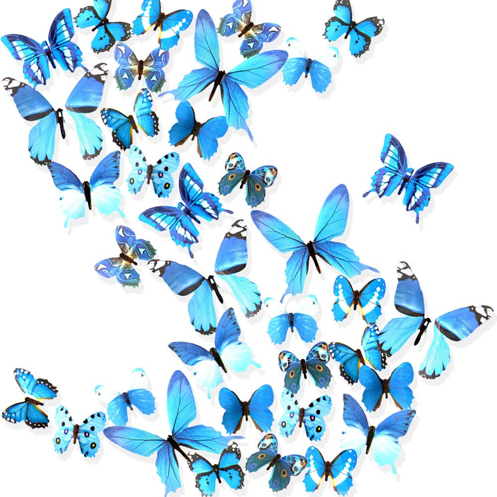 Ewong Butterfly Wall Decals for Living Room, 36PCS 3D Butterflies Home Decor, Wall Sticker for Girls Room Kids Bedroom Bathroom Baby Nursery Decoration - Blue
