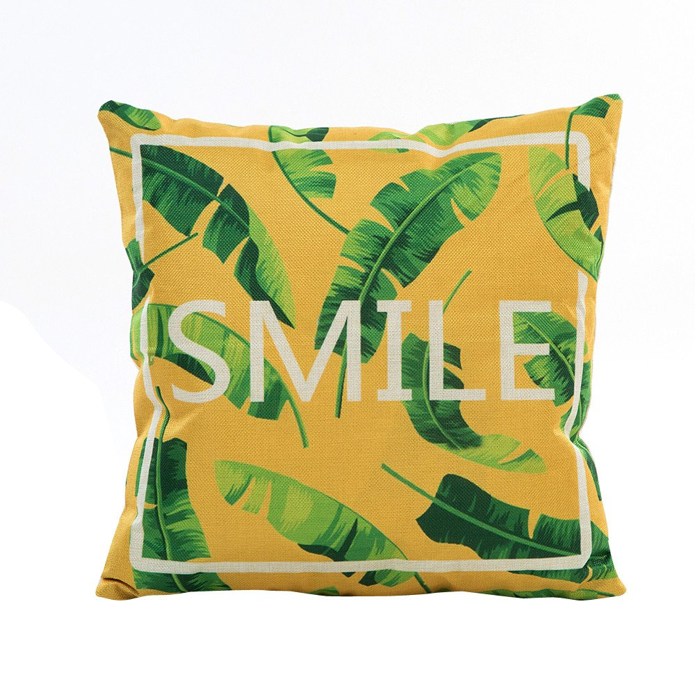 Pgojuni Flowers Grass Pattern Cushion Cover Throw Pillow Cover Accent Cushion Cover Square Pillow Case for Sofa/Car/Bed Home Decor 1pc (F)