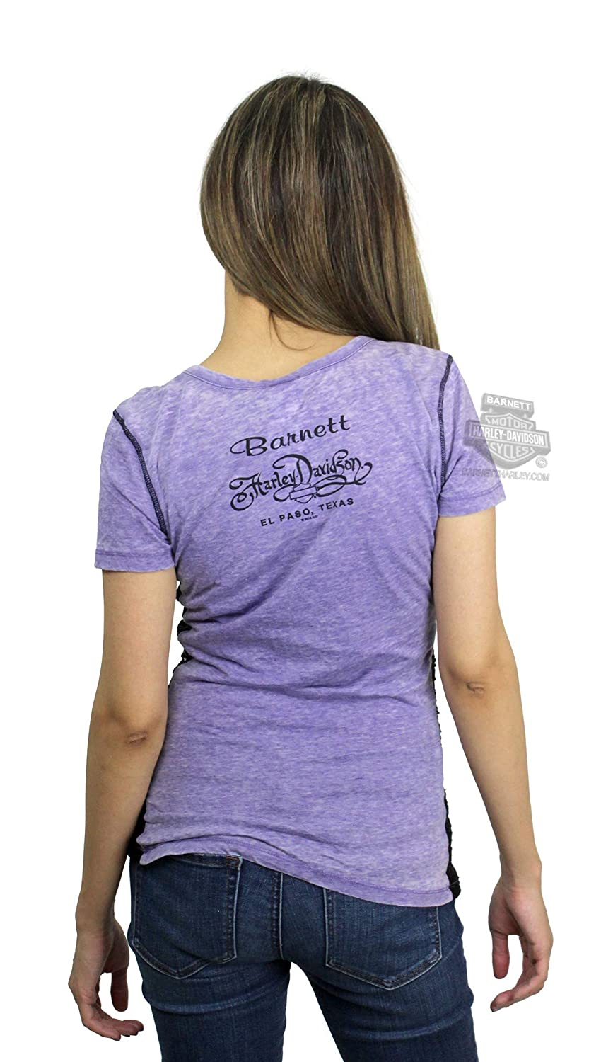 fa8ad97f Amazon.com: Harley-Davidson Womens Embrace Winged B&S Burnout with Lace Purple  Shirt: Clothing