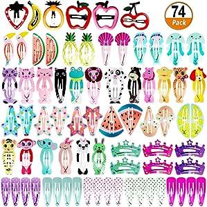 HBF Multicolor 50 Clips Pelo Ni/ña Metal Pinzas Pelo Bebe Ni/ña Patr/ón De Dibujos Animados Y Fruta Horquillas De Pelo Infantiles