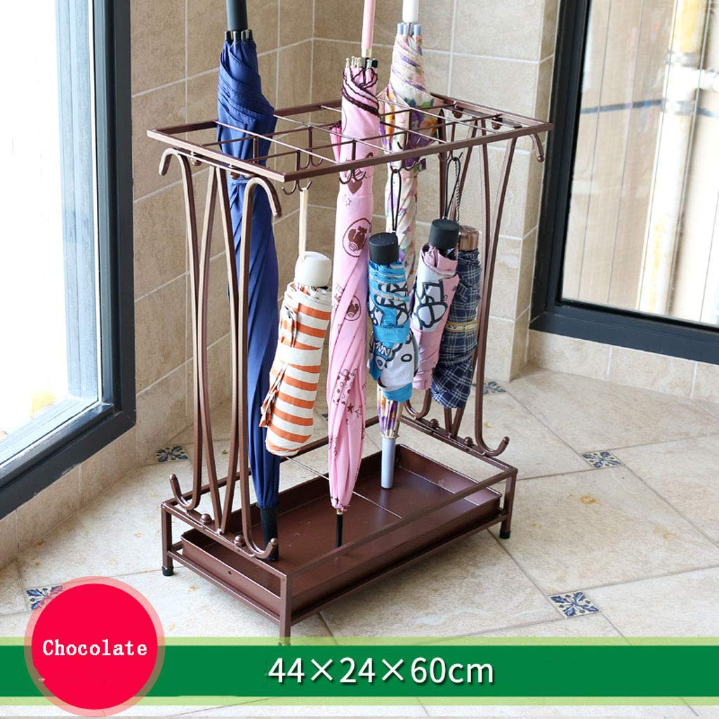 CS 15 Holes and 16 Hooks Iron Art Umbrella Stand Hotel Lobby Home Creative Flooring Rain Umbrella Place Storage Shelf (Color : Chocolate Color)
