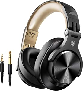 OneOdio A70 Bluetooth Over Ear Headphones - 50 Hours Playtime Wired and Wireless Headphone, Studio Recording Headphones for Mixing and Mastering with Bass for Guitar Keyboard Computer Laptop(Gold)