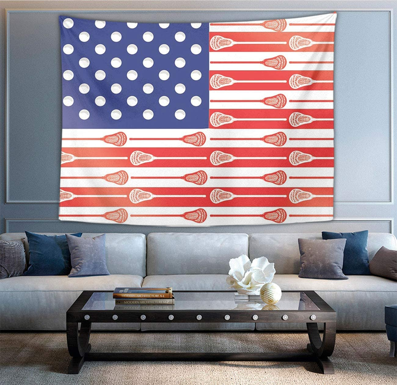 "NiYoung Great Gift - Wall Blanket Wall Art American USA Lacrosse Sticks Flag Tapestry Wall Tapestry Wall Art Decoration Home Decor for Bedroom, Dorm, College, Living Room 40"" X 60"""