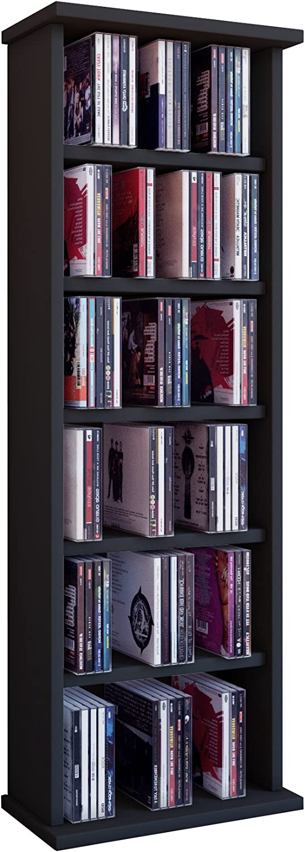 VCM Shelf Shelves Storage Unit Cabinet Bookshelf Bookcase CD DVD Furniture Tower Wood Vostan Black