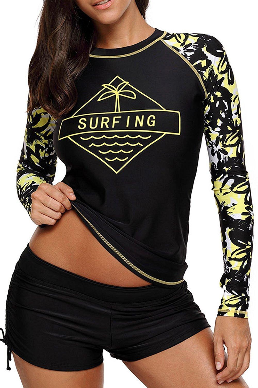 Anmengte 2 Pcs Women's Swimsuit Rash Guard Long Sleeve Tankini UV Sun Protection Athletic Cover up Swimwear(Black Surfing,XL)
