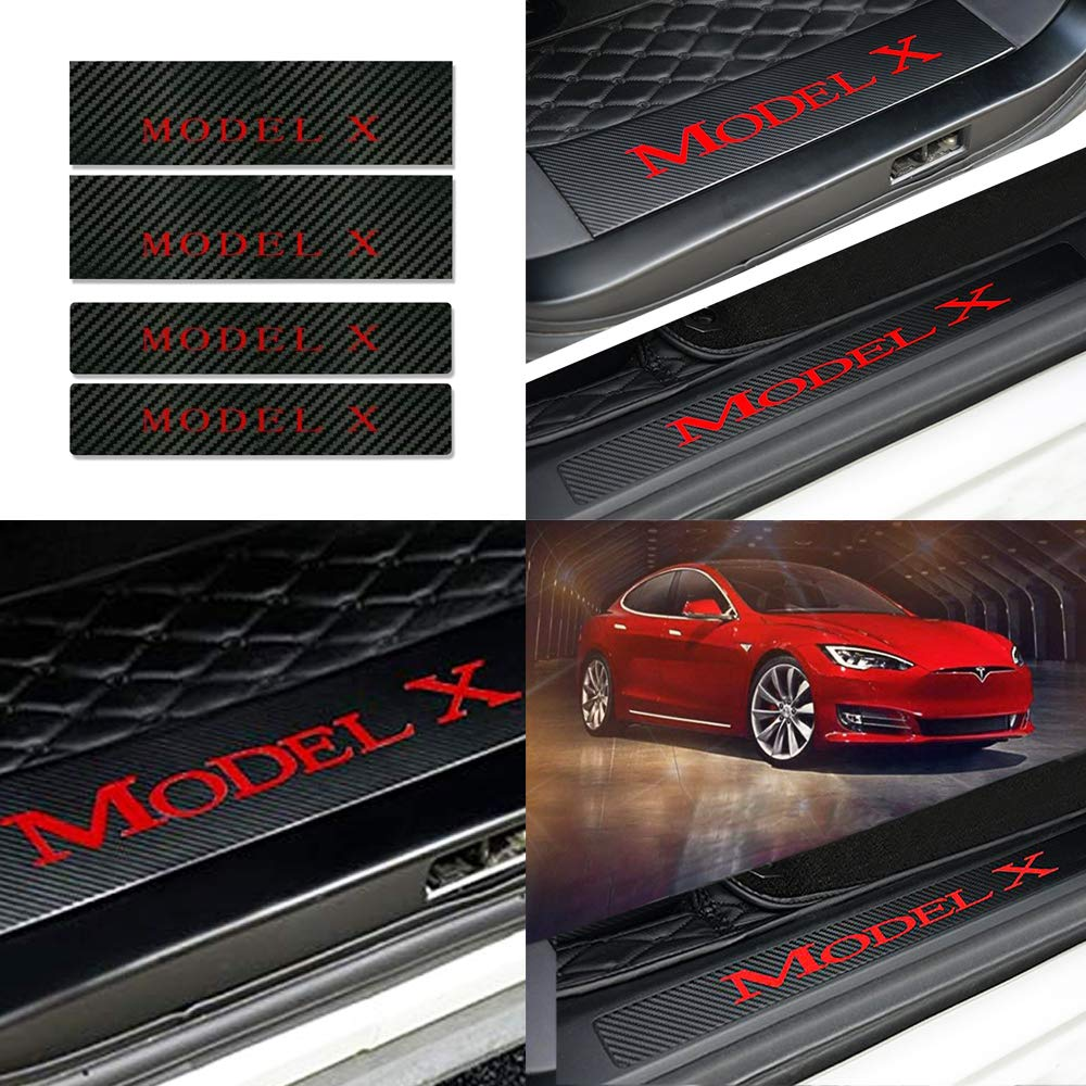 Older Version of Model X Black Red Combination Color CoolKo Newest and Improved Car Door Sills Protection Kit Carbon Fiber Stickers for Tesla Model X 2017 Version