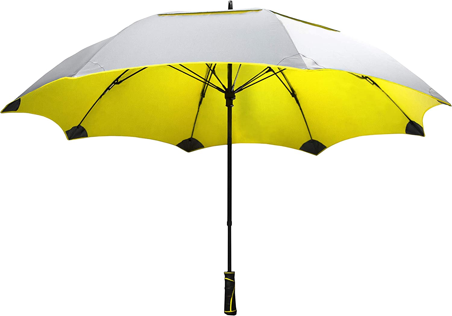 SunTek Solaire 62 Reflective UV Sun Protection Wind Weather Resistant Vented Double-Canopy Umbrella Yellow