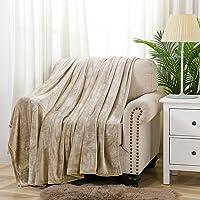 Flannel Fleece Blanket Throw Lightweight Cozy Plush Super Soft Microfiber Solid Fleece Blanket,50 x 60 Inch, Beige