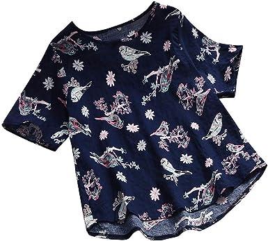 Linkay - Camisa de Mujer de Manga Corta de Verano de algodón ...