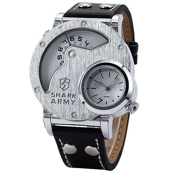 SHARK ARMY SAW054 - Reloj Hombre Cuarzo de Cuero Negro: Amazon.es: Relojes