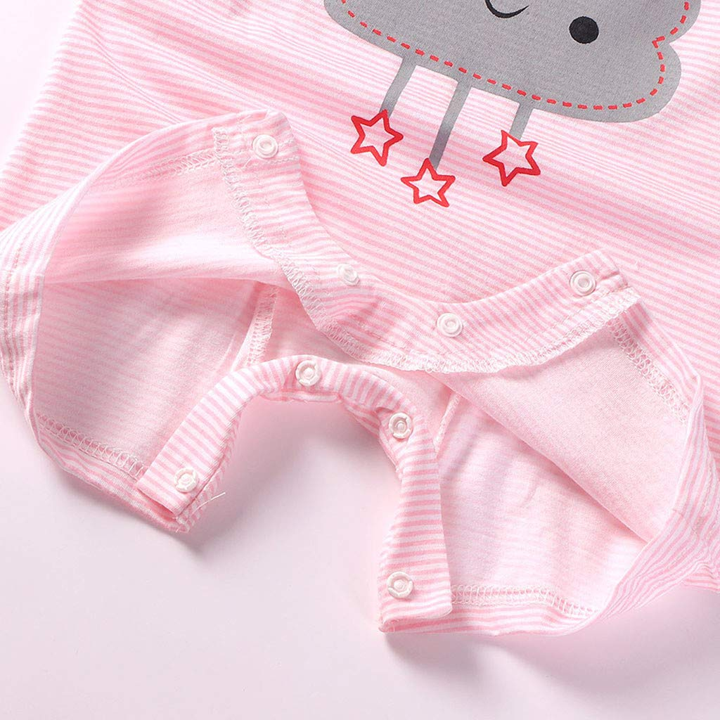 Whitegeese Newborn Baby Boy Girl Short Sleeve Cotton Jumpsuit Star Cloud Moon Print Rompers