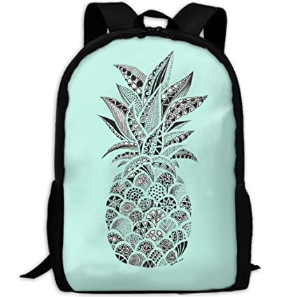 d6dcd65fc2e9 Mossey Raymond Casual Laptop Backpack for Women Men School College Backpack  - Black Floral Pineapple Teal