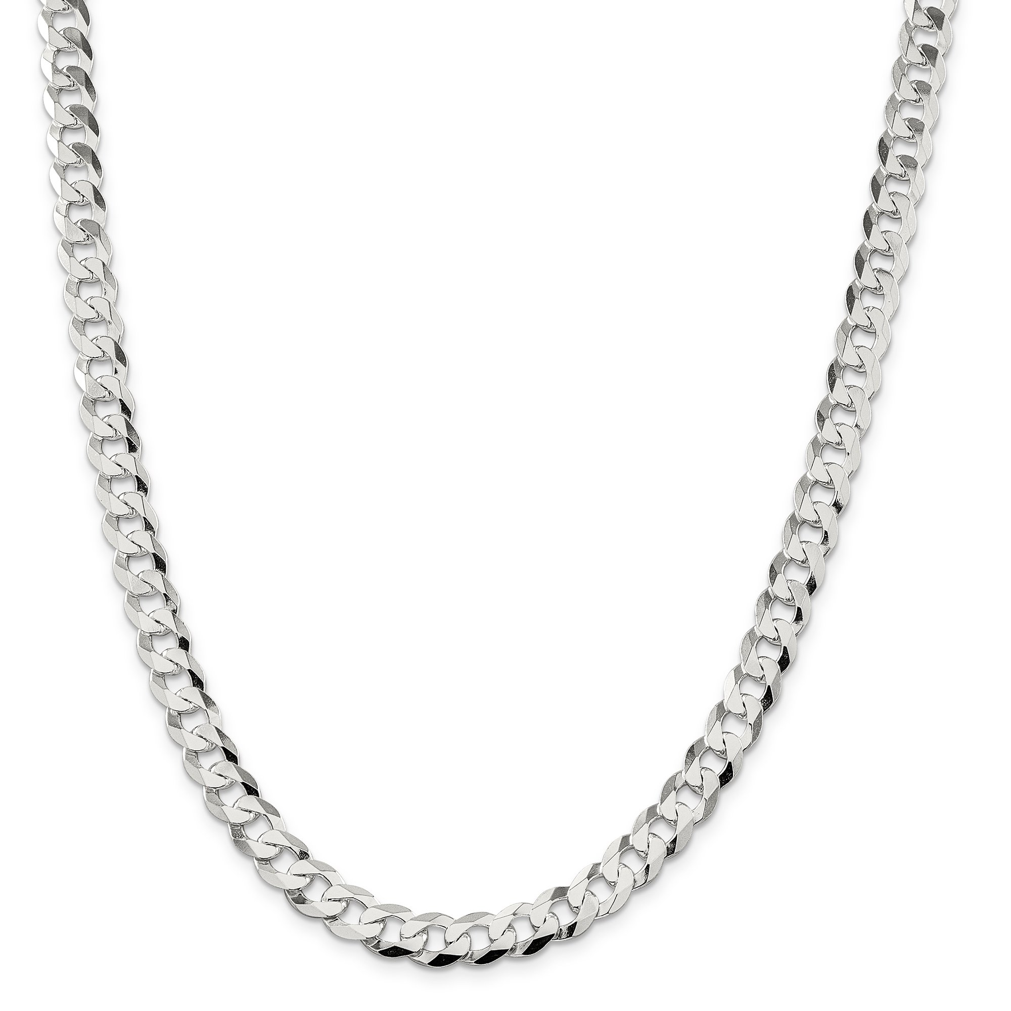 ICE CARATS 925 Sterling Silver 8.5mm Close Link Flat Curb Chain Necklace 18 Inch Fine Jewelry Gift Set For Women Heart