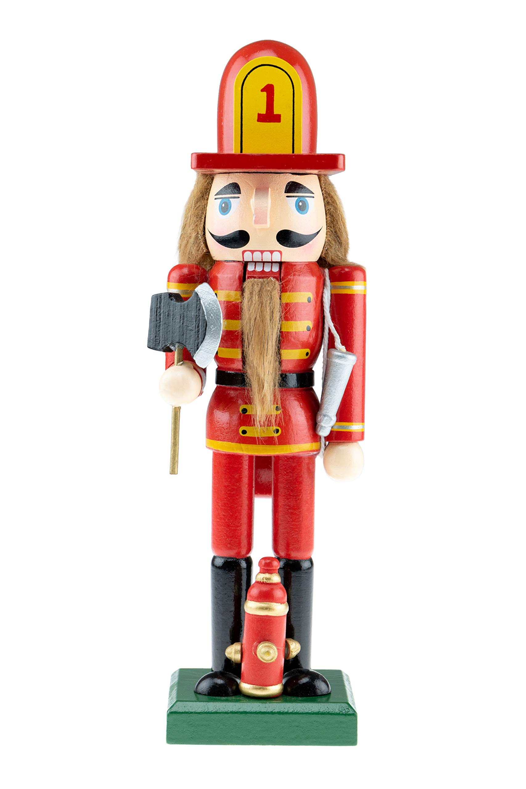 Clever Creations Wooden Fireman Nutcracker | Red and Yellow Uniform Holding Axe | Festive Traditional Christmas Decor | Great for Any Holiday Collection | 10'' Tall Perfect for Shelves and Tables