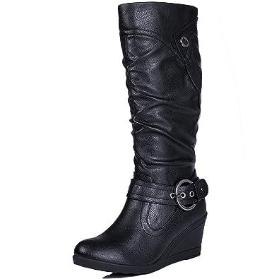 311a3fbeab0 Spylovebuy KARLOA Women s Biker Wedge Heel Knee High Tall Boots  Amazon.co.  uk  Shoes   Bags
