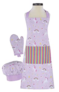 Handstand Kitchen Child's Rainbows and Unicorns 100% Cotton Apron, Mitt and Chef's Hat Gift Set